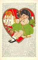 D80/ Valentine's Day Love Holiday Postcard c1910 Girl on a Swing Heart Boy 13