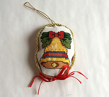 Christmas Ornament Handmade Golden Bell with Red Bow 3.75 inches Cross Stitch