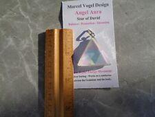 Vogel Angel-Opal Aura Quartz Triangle Silver Pendant-Rainbow Energy!