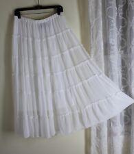 ANTHONY Sz M White Gypsy Boho Tiered Art-to-Wear White Gossamer Skirt