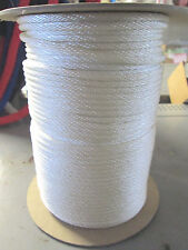 "# 5 5/32"" x 50 ft t Starter crank rope  White  solid braid Polyester Made N USA"