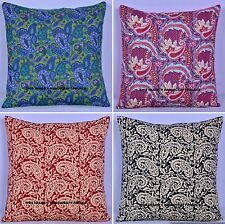 Indian Cotton Quilted Paisley Linen Throw Pillow Case Cushion Cover Home Decor