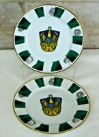 "Neiman Marcus Set of 2 Dessert Plates 8 1/4""  Green Jewel Crown - Japan - NM15"