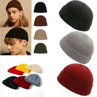 Unisex Men Women Beanie Hat Warm Ribbed Winter Turn Ski Fisherman Docker Hat @Y