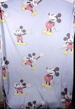 VTG Disney Mickey Mouse Cutter Fabric Craft Quilt Sheet Blue Backgrd APX 72 x 86