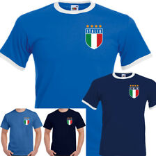 Retro Italia Football Mens T-Shirt Top World Cup Italy Italian Footy Jersey Kit
