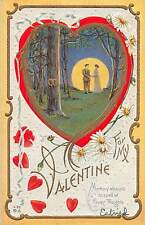 VALENTINE'S DAY Love Holiday Postcard c1910 Moon Gold-Lined Fancy 390