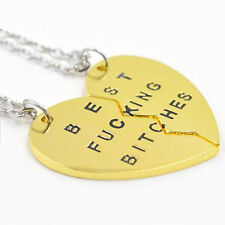 Womens Best Bitches Best Friend BFF Heart Friendship Pendant Necklace NEW