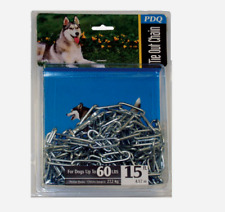 PDQ Boss Pet 15' DOG TIE OUT CHAIN Dark Gray Steel LARGE Size 60 lbs 09415 NEW