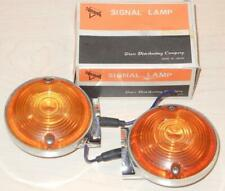 "Superior IM-70 12V PAIR metal 3"" amber light vintage fire police LAPD Moto Guzzi"