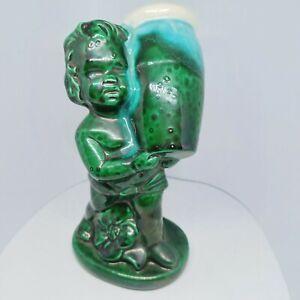 Ceramic boy with vase flower planter - Boy Figurine - Green - not marked