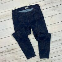 Old Navy The Diva Skinny Pants Size 2 Womens Flocked Printed Stretch Navy Blue