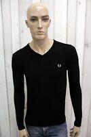 FRED PERRY Maglione Uomo Taglia S Lana Merino Nero Casual Pull Pullover Sweater