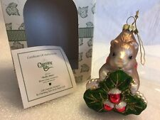 """Charming Tails """"Holly Days"""" Mouse Glass Christmas Ornament"""