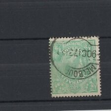 1915 Australia KGV SG 20 1/2d Green Inverted Wmk OS Perfin Used, with small tear