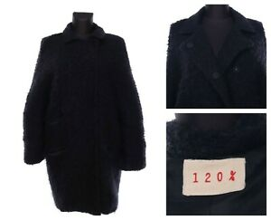 Women's 120% LINO Black Pile Wool Blend Cocoon Short Сoat Size XXL