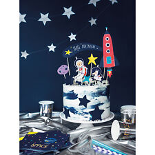 Space Party Cake Topper - Boys Birthday Party Galaxy Rocket Ship Decorations