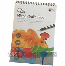 West Design A4 Mixed Media Paper Artist Pad. Spiral Bound. 250gsm. 30 Sheets