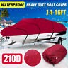 14-16FT Heavy Duty Boat Cover Runabouts Waterproof For Fish Ski Bass V-Hull Red