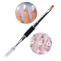 UV polygel poly gel nail art pen slice brush dual-ended slice shape tool B$