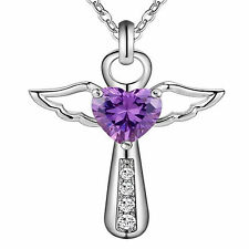 "925 Silver Pltd Guardian Angel Purple CZ Heart Crystals Pendant 18"" Necklace -A1"