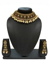 Indian Bollywood Black Ethnic Temple Fashion Traditional Necklace set For Women