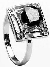 Natural Diamond 925 Silver Ring Size 6.5 1.88 Ct Black Moissanite & Raw White