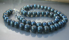 """CULTURED FRESHWATER PEARL  HAND KNOTTED NECKLACE 18"""" BLUE BLACK (P1731)"""