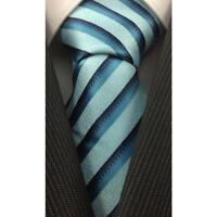 Tie Necktie Aqua Striped Classic 100% Silk Jacquard Woven Men's Ties Neckties