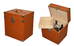 Handmade Portable Tan Color Leather Mini Bar with Elegant and Designer Style.