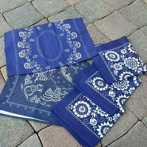 5x schöne Blaudruck-Tischdecke, Läufer Deckchen Baumwolle