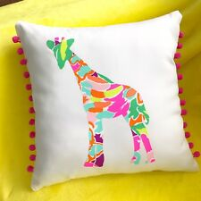New Giraffe pillow made with Lilly Pulitzer Lulu fabric