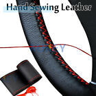 Red Genuine Leather Sport DIY Car Steering Wheel Cover With Needles Thread US