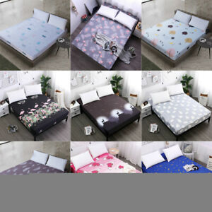Polyester Bed Sheet Full Fitted Sheets Queen King Cover Bedding Bedspread Home