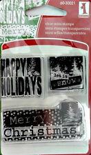Inkadinkado Happy Holiday Greetings Clear Mini Stamp Snow    Buy ANY 3 Free Ship