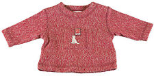 JACADI Boy's Aliment Red / Gray Detailed Round Neck Sweater Sz 6 Months NWT $46