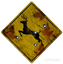 Deer Crossing Hunting Sign Poster Print, 13x19