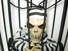 skeleton Screaming prison in Cage with Lights Talking Halloween party Decoration