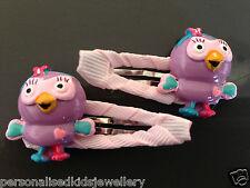 Girls Hair Clip HOOTABELLE (2x hairclip) Or Peppa Pig, giggle hoot the owl, elmo