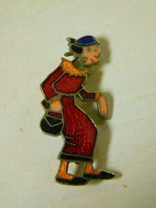 "Vintage 1930's OLIVE OIL Enameled PIN Brooch Pinback Popeye's girl  1 3/8"""