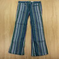 vtg 60s 70s MADEWELL patterned flare pants jeans 35 x 31 striped prentice zipper