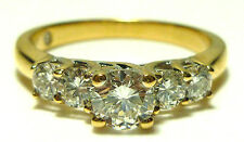 "DESIGNER SIGNED ""ZEI"" 18K YELLOW GOLD 1.00CT ROUND DIAMOND FIVE STONE RING BAND"