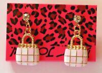 Betsey Johnson Crystal Rhinestone Enamel Handbag Post Earrings