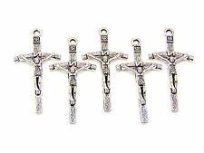 5 pcs - 50mm tibetan silver jesus cross charms bijoux pendentif religion O157