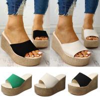 Womens Platform Espadrille Peep Toe Sandals Wedge Heel Slippers Shoes Flip Flop