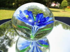 VIVID COBALT BLUE & EMERALD GREEN SEA BED ANEMONE IN GLASS PAPERWEIGHT
