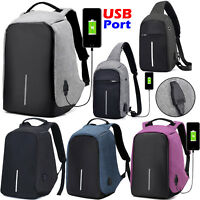 Black Anti-Theft Laptop Backpack School Travel Sling Shoulder Bag With USB Port