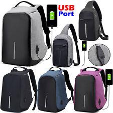 Anti-Theft Laptop Backpack School Travel Business Sling Shoulder Bag w/ USB Port