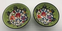 "Set of 2 Artecer Dip / Condiment Lime Green Floral 3"" Bowls  Hand-painted Spain"