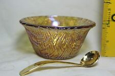 Amber/Topaz Iridescent Glass Bowl 4' 5/8 w/Stainless Steel Gold Ladle Spoon